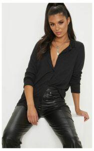 Black Rib Oversized Shirt, Black
