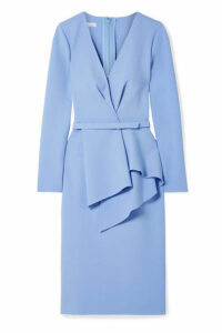 Oscar de la Renta - Draped Stretch Wool-blend Dress - Sky blue