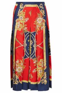 Gucci - Pleated Printed Silk-twill Skirt - Blue
