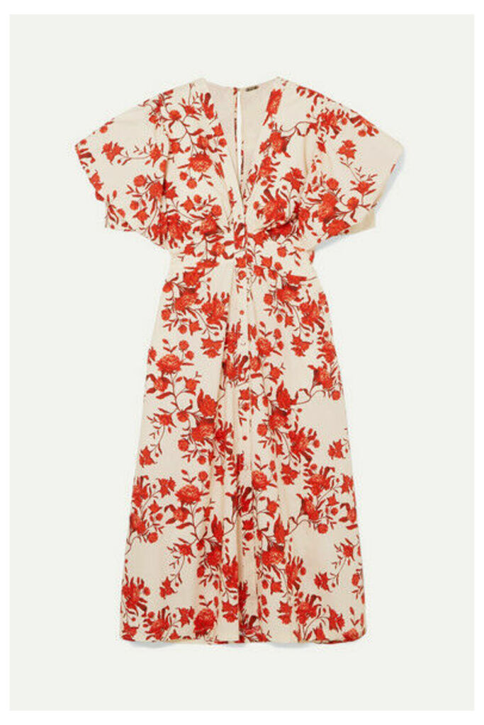 Johanna Ortiz - Floral-print Cotton-poplin Midi Dress - Red