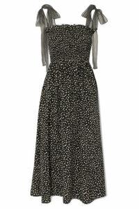 La Ligne - Lou Chiffon-trimmed Polka-dot Silk Crepe De Chine Midi Dress - Black