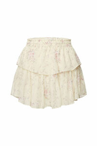 LoveShackFancy Printed Silk Skirt with Ruffles