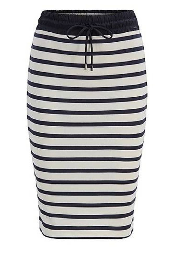 Striped cotton pencil skirt with technical drawstring waist