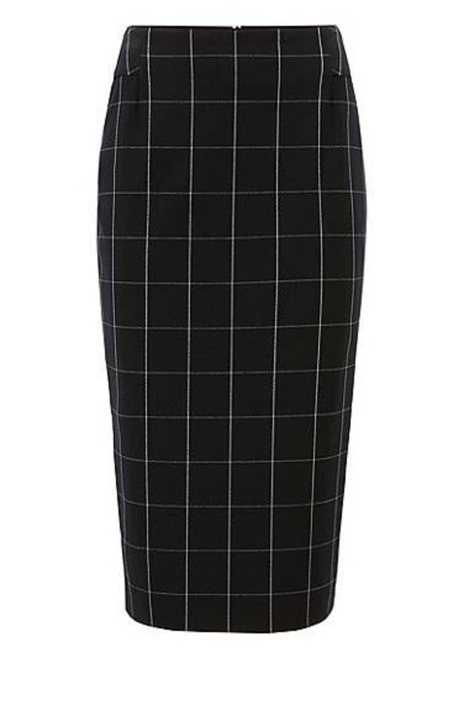 Checked pencil skirt in Portuguese stretch fabric