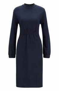 Slim-fit dress with smocked waist and cuffs
