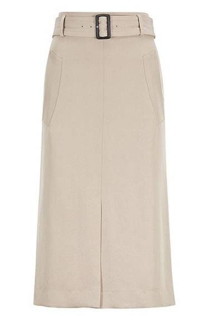 Slim-fit skirt in Japanese twill with statement belt
