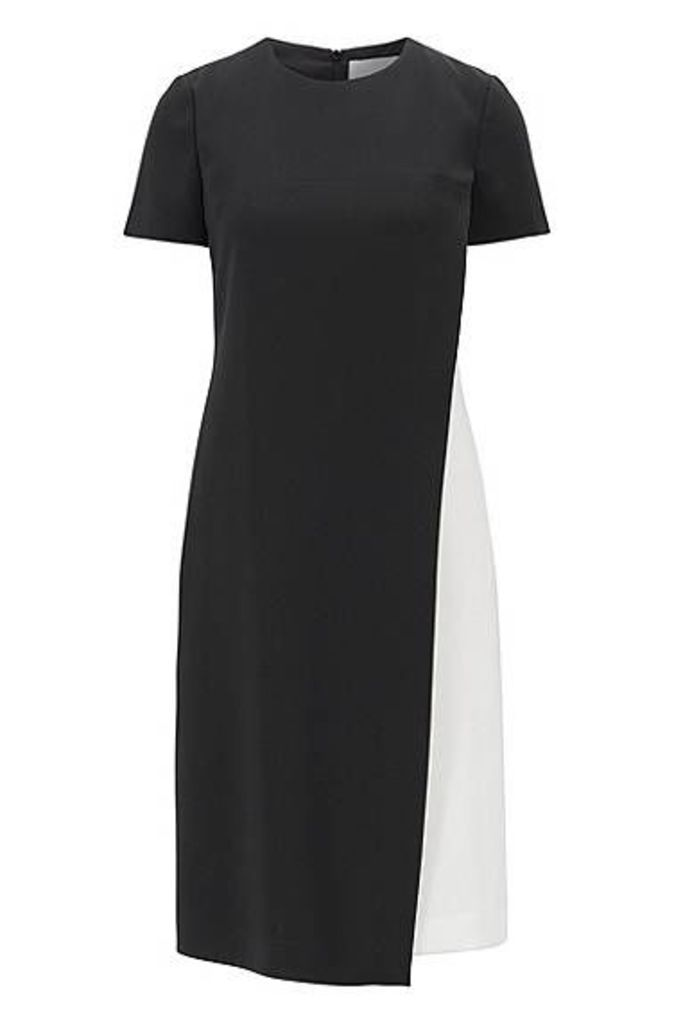 Colourblock dress in crease-resistant Japanese crepe