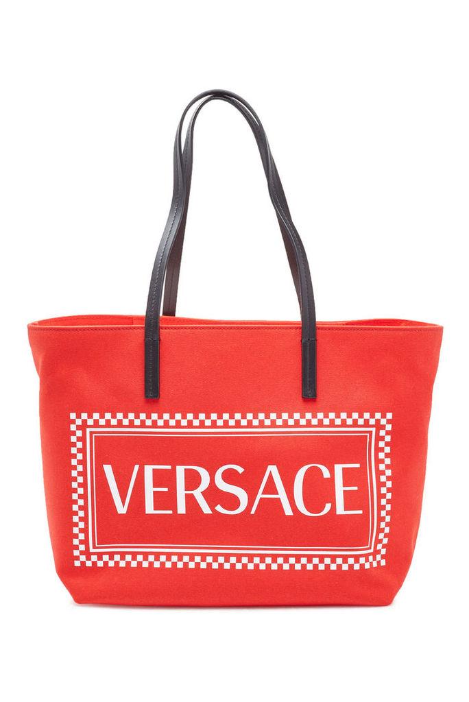Versace Logo Canvas Shopper