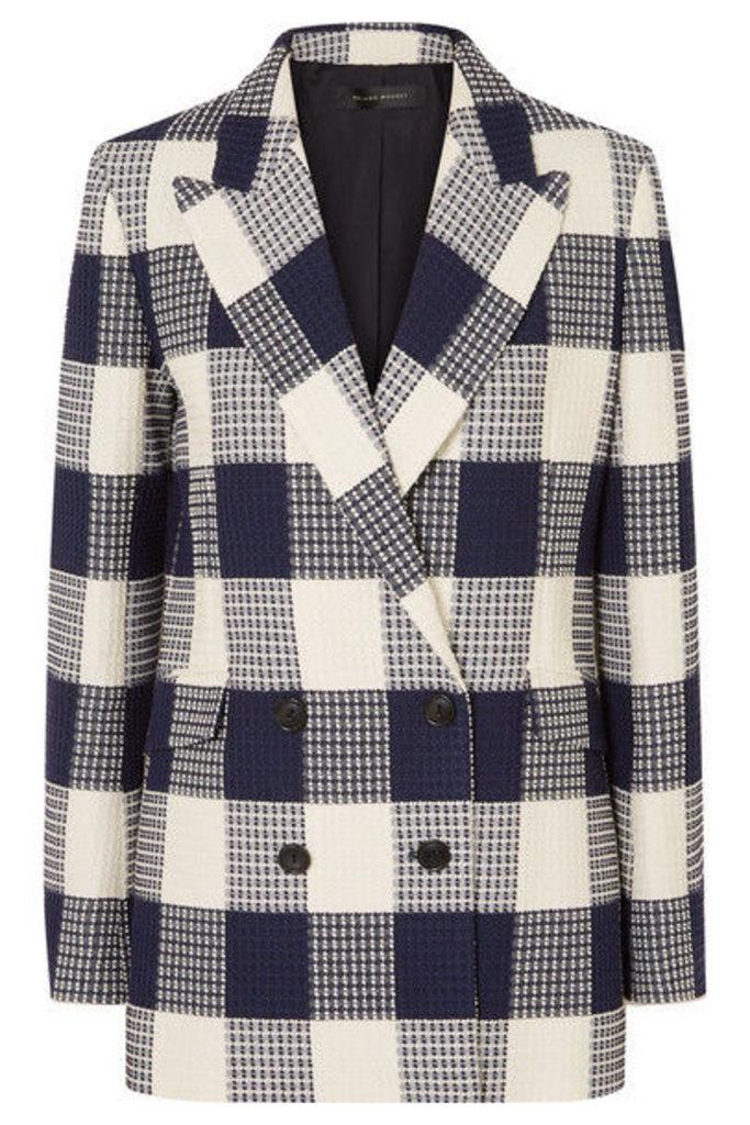 Roland Mouret - Harleston Checked Cotton-blend Bouclé Blazer - Navy
