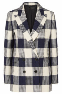 Roland Mouret - Harleston Checked Cotton-blend Bouclé Blazer - Navy