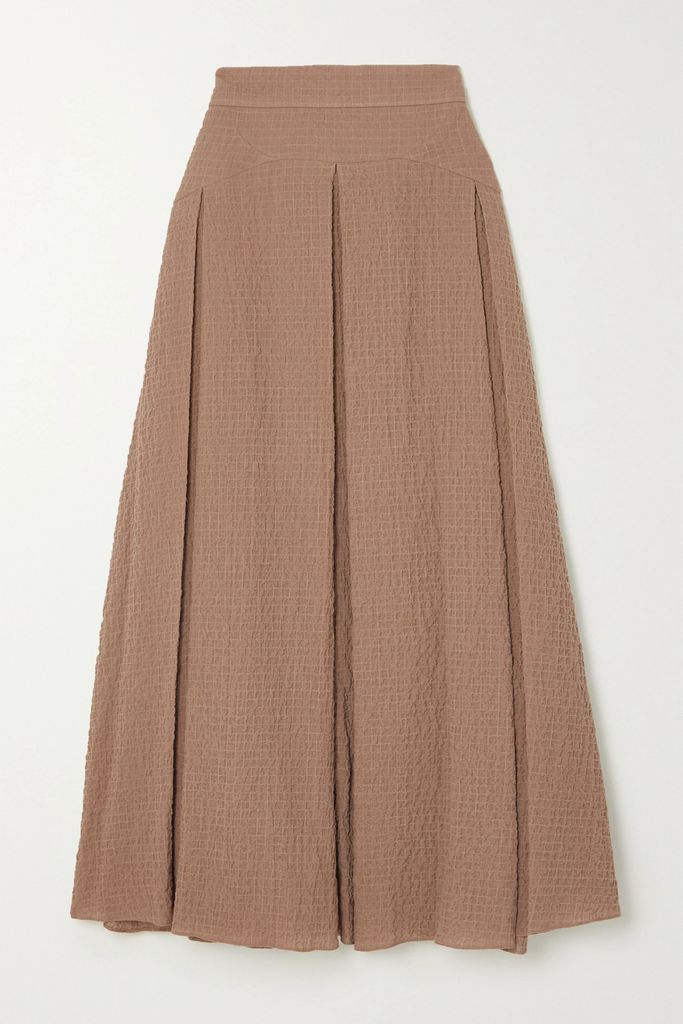 Isabel Marant - Dolmen Asymmetric Pleated Satin Midi Skirt - White