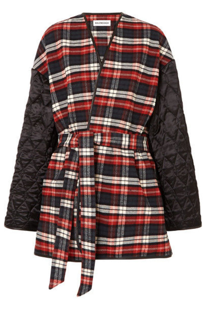 Balenciaga - Leather-trimmed Checked Cotton-flannel And Quilted Satin Coat - Red