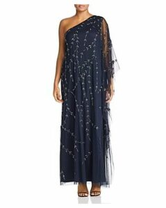 Adrianna Papell Plus Beaded One-Shoulder Caftan Gown
