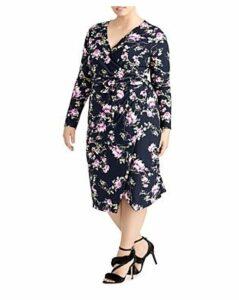 Rachel Roy Plus Floral Print Faux Wrap Dress