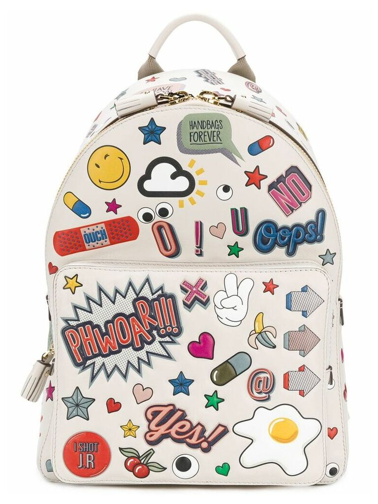 Anya Hindmarch all over stickers mini backpack - Neutrals