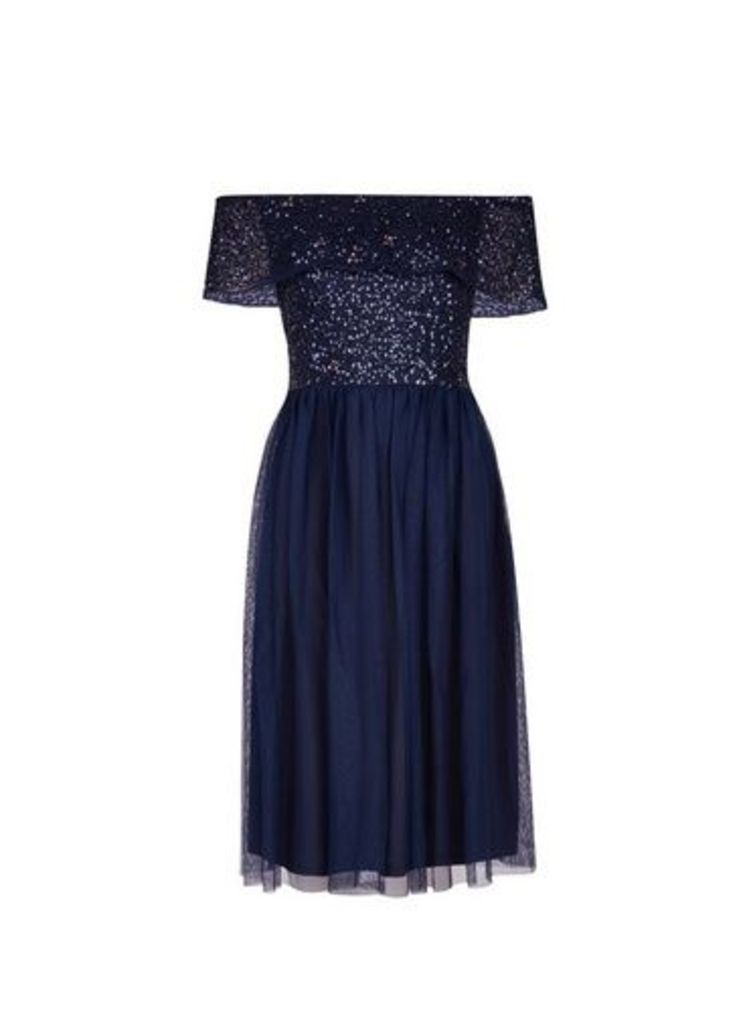 Womens **Showcase Navy 'Camille' Bardot Dress- Blue, Blue