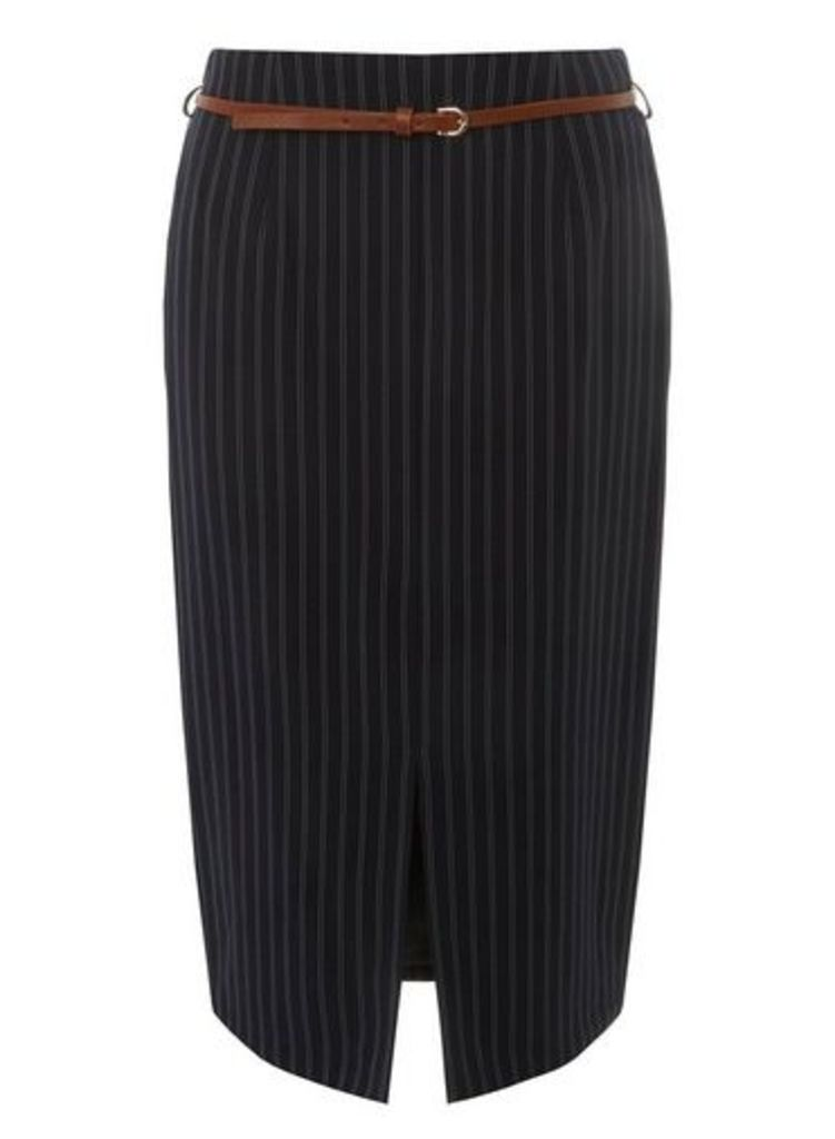 Womens Blue Double Striped Pencil Skirt- Blue, Blue