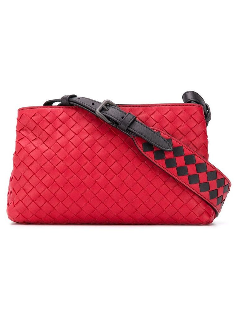Bottega Veneta woven detail shoulder bag - Red