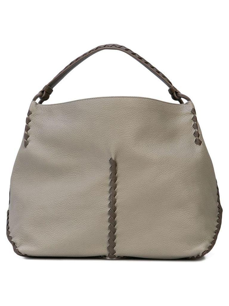 Bottega Veneta woven detailed shoulder bag - Grey