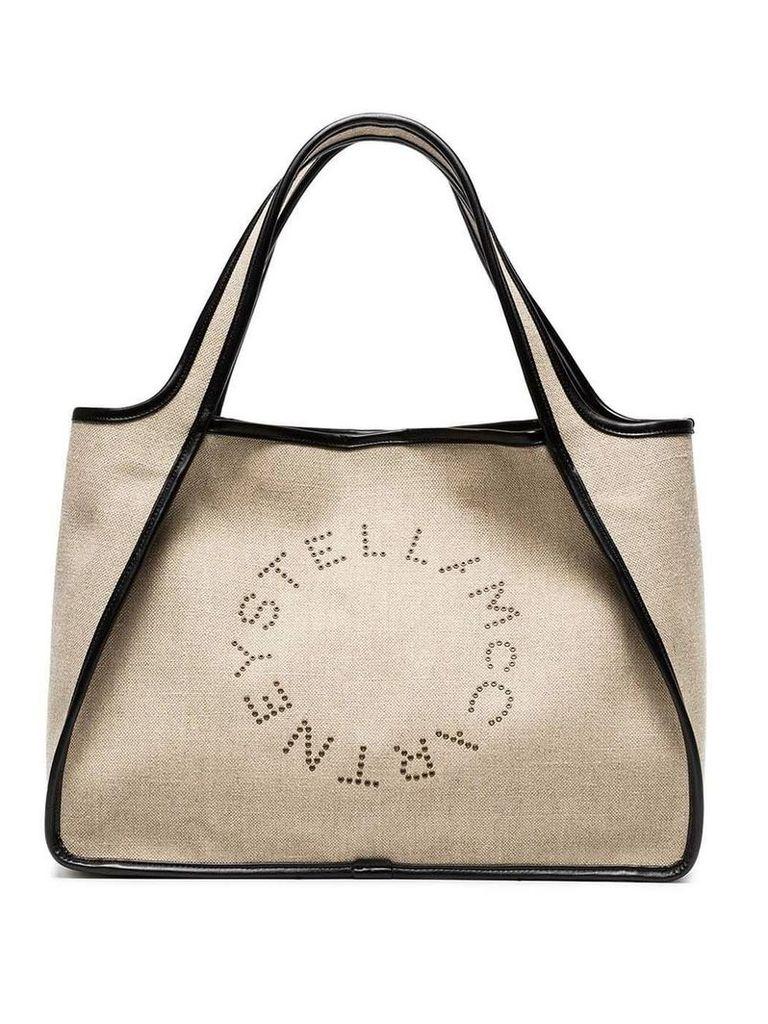 Stella McCartney Beige Logo Linen Tote Bag - Neutrals