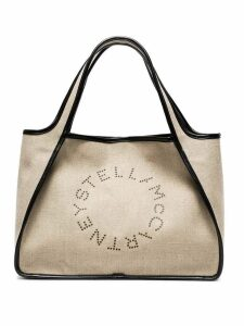 Stella McCartney Beige Logo Linen Tote Bag - Neutrals
