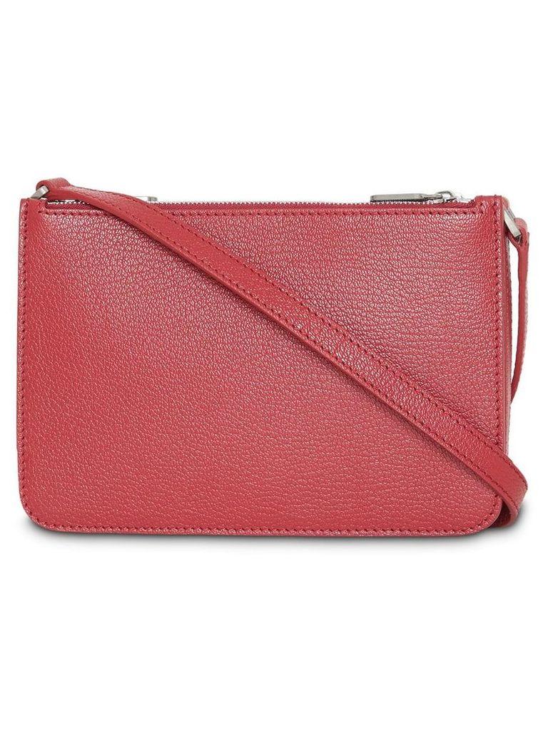 Burberry Triple Zip Grainy Leather Crossbody Bag - Red