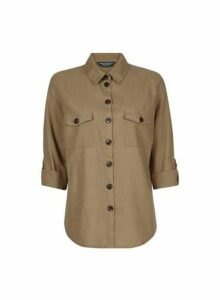 Womens **Tall Khaki Shirt With Linen- Khaki, Khaki