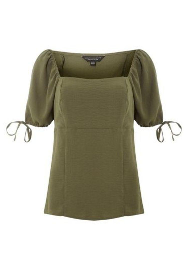 Womens Khaki Square Neck Tie Sleeve Top- Khaki, Khaki