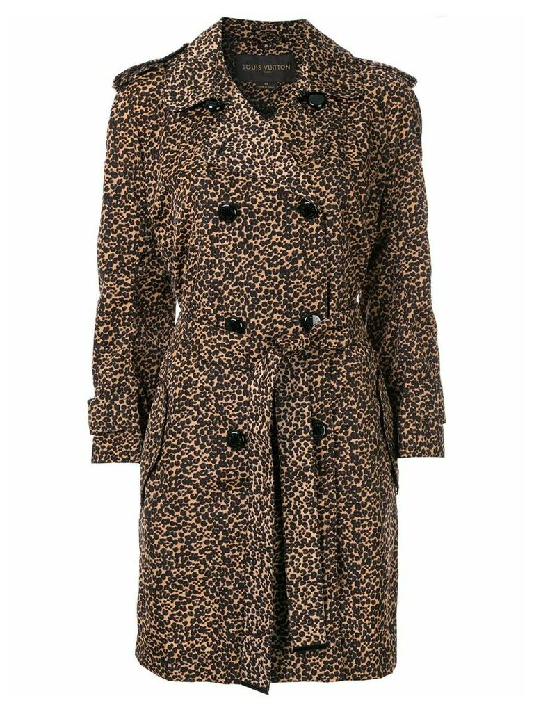 Louis Vuitton Pre-Owned leopard print trench coat - Brown