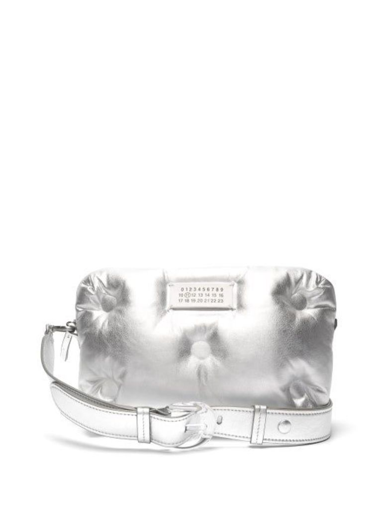 Maison Margiela - Glam Slam Quilted Metallic Leather Cross Body Bag - Womens - Silver