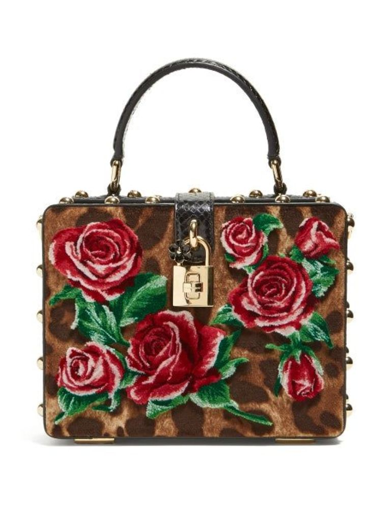 Dolce & Gabbana - Leopard Print And Roses Velvet Box Bag - Womens - Leopard