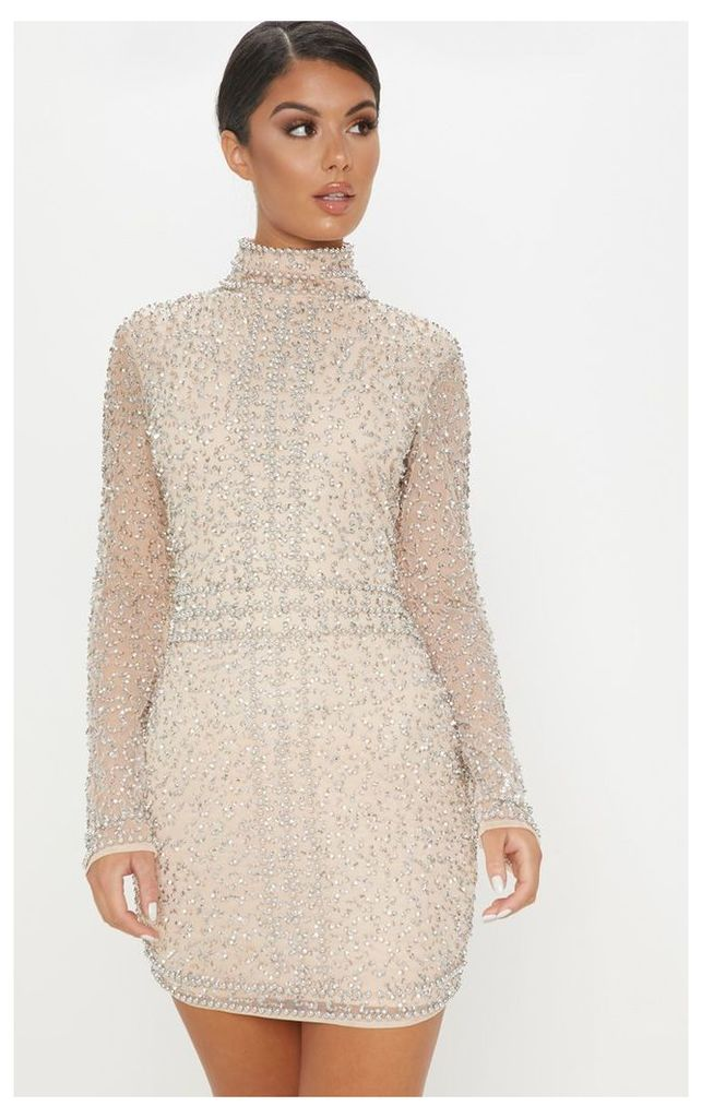 Nude Sequin Embellished High Neck Bodycon Dress, Pink