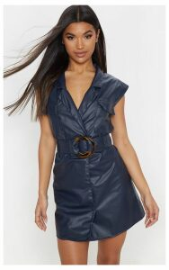Navy Faux Leather Utility Blazer Dress, Blue