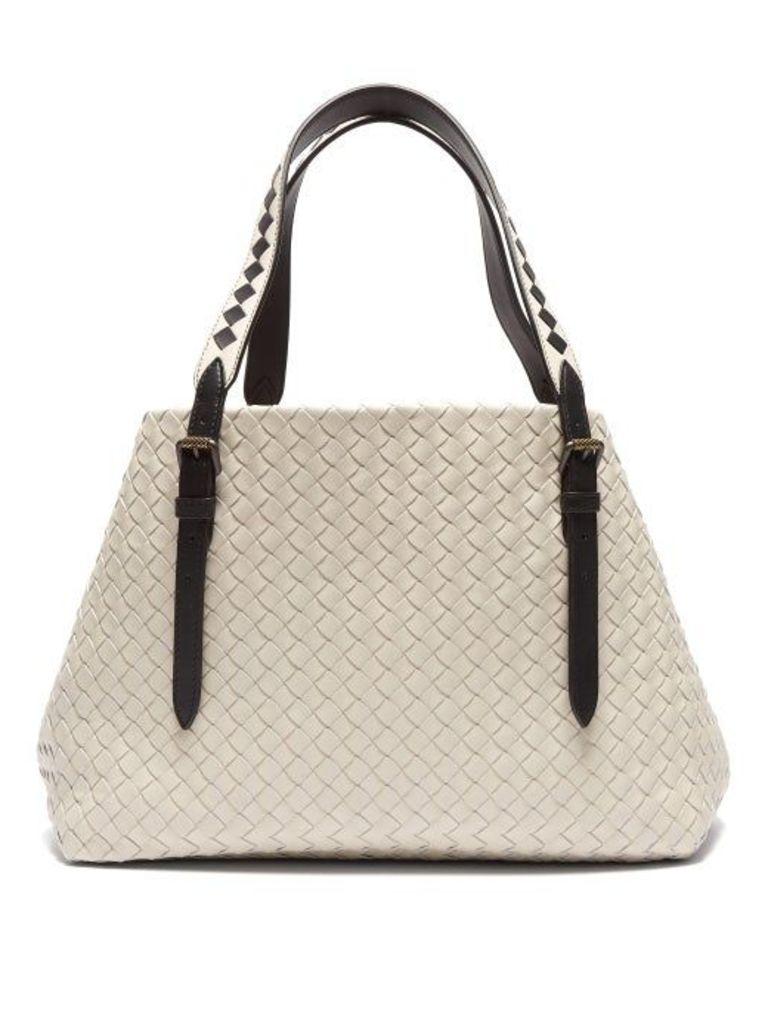 Bottega Veneta - Cesta Intrecciato Leather Tote Bag - Womens - Light Grey