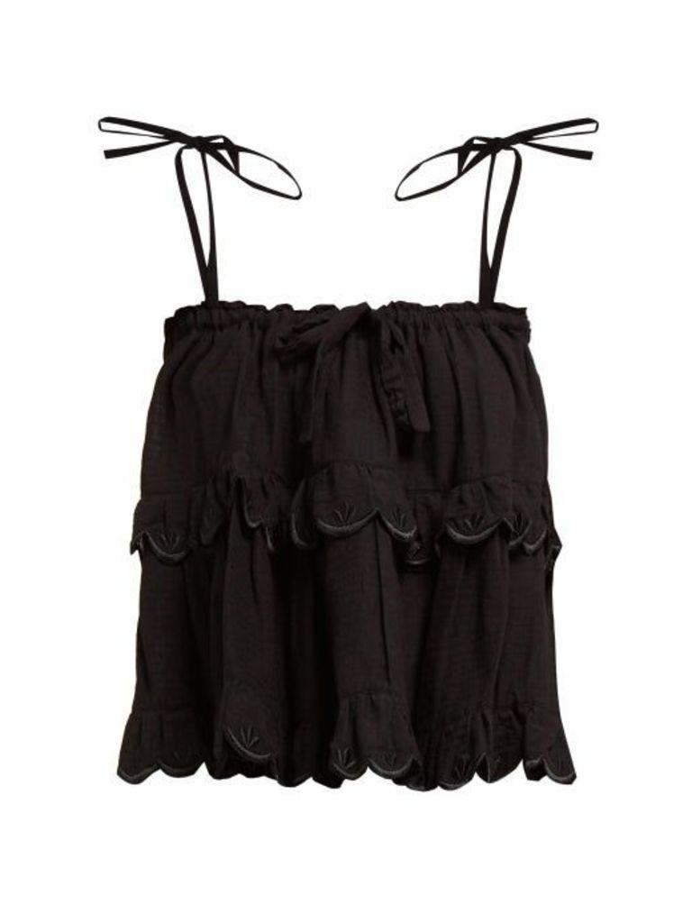 Innika Choo - Stella Scalloped Edge Tiered Cotton Top - Womens - Black