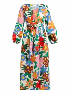 Mara Hoffman - Luna Floral Print V Neck Maxi Dress - Womens - White Print