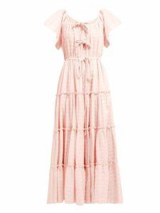 Innika Choo - Geometric Embroidered Tired Cotton Midi Dress - Womens - Light Pink