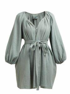 Loup Charmant - Peasant Gathered Cotton Gauze Mini Dress - Womens - Green