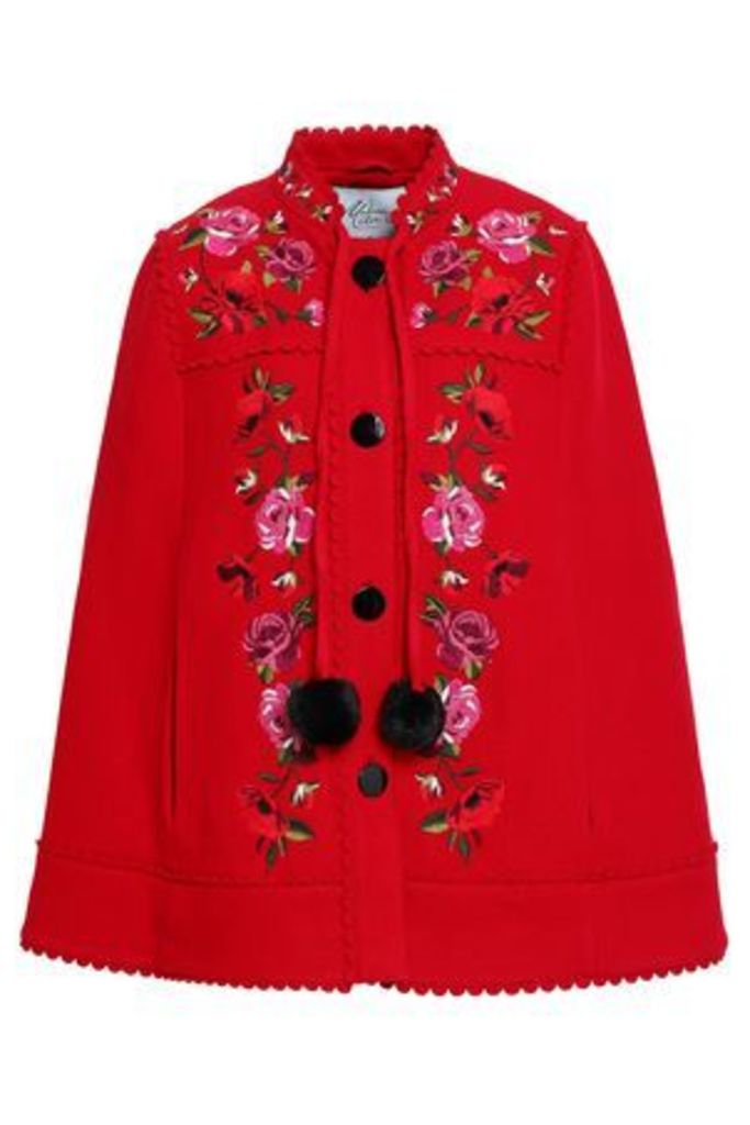 Kate Spade New York Woman Scalloped Embroidered Wool-blend Cape Red Size S/M