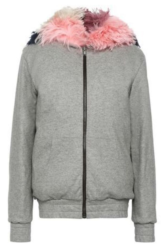 Mr & Mrs Italy Woman Wool-blend Terry Hooded Jacket Gray Size XS