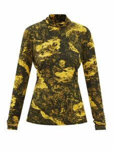 Rochas - Floral Brocade Wool Blend Midi Skirt - Womens - Pink