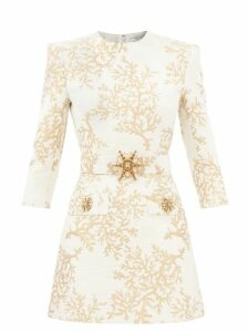 Redvalentino - Knotted High Rise Crepe Midi Skirt - Womens - Red