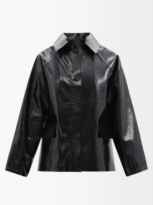 Rochas - Floral Print Satin Midi Skirt - Womens - Black