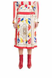 MSGM Pleated Printed Skirt