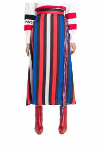 MSGM Wrap Skirt With Stripes And Fringe