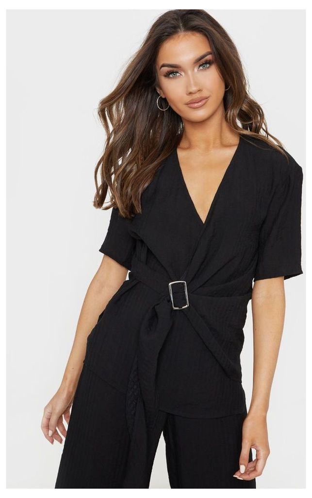 Black Longline Short Sleeve Shirt, Black