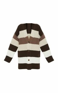 Stone Striped Knitted Cardigan, White