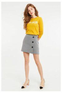 Womens Oasis Black/White Mono Jacquard Skirt -  Black
