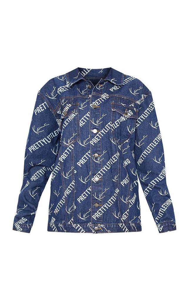 KARL KANI Blue Printed Oversized Denim Jacket, Blue