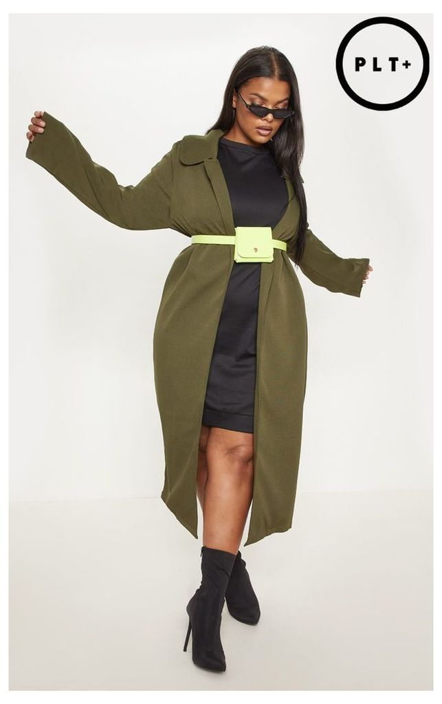 Plus Khaki Longline Duster Coat, Green